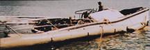 Elongated salvage pontoons used broadside