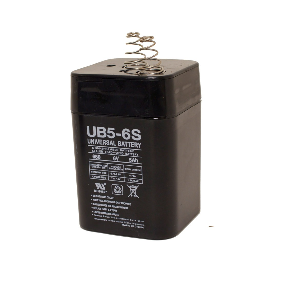 6VDC Rechargeable Spring Top Gel-Cell Battery