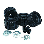 C.E. SMITH RIBBED ROLLER REPLACEMENT KIT 4 PACK BLACK